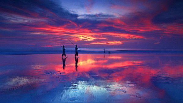 Fond d 39 cran de coucher de soleil - Coucher de soleil rose ...