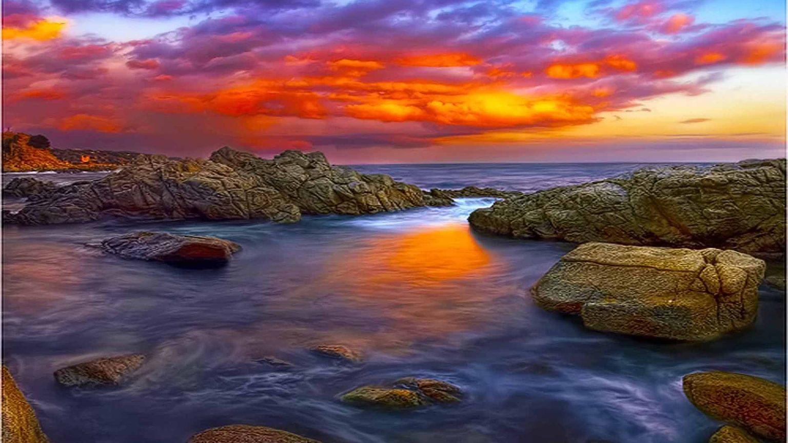 Fond d 39 cran de coucher de soleil - Fond ecran coucher de soleil sur la mer ...